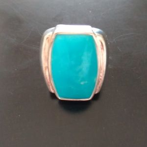 Size 7 Turquoise Sterling Statement Ring